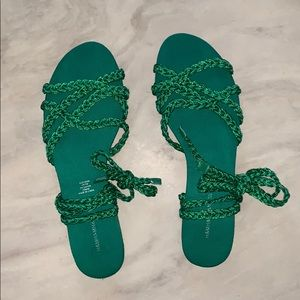 H&M Green Sparkle Rope/Tie Sandals